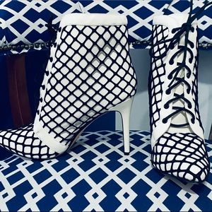 White and black fishnet boots lace up